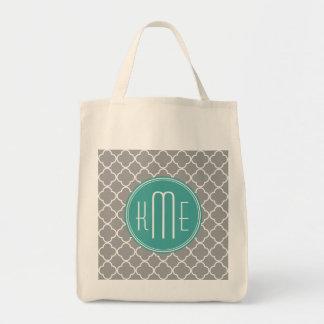 Gray Quatrefoil with Custom Mint Monogram Grocery Tote Bag