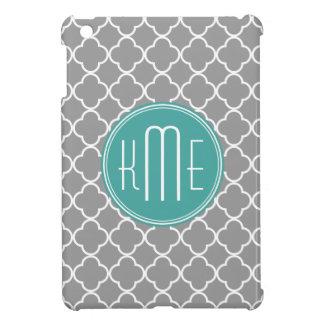 Gray Quatrefoil with Custom Mint Monogram iPad Mini Cover