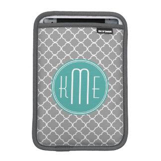 Gray Quatrefoil with Custom Mint Monogram iPad Mini Sleeve