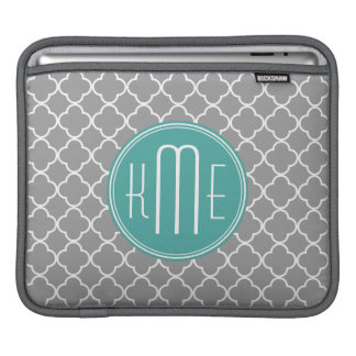 Gray Quatrefoil with Custom Mint Monogram Sleeves For iPads