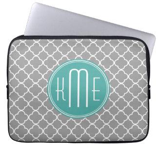 Gray Quatrefoil with Custom Mint Monogram Computer Sleeve