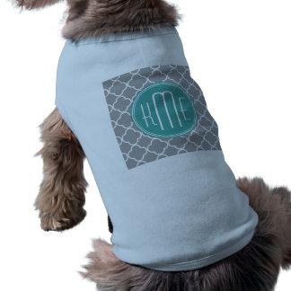 Gray Quatrefoil with Custom Mint Monogram Shirt