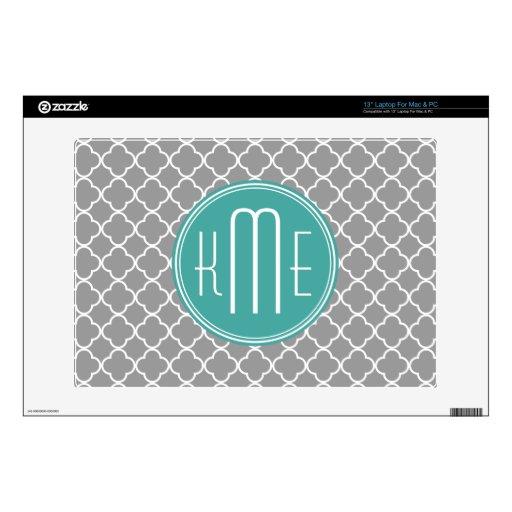 Gray Quatrefoil with Custom Mint Monogram Skin For Laptop