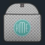 "Gray Quatrefoil with Custom Mint Monogram Sleeve For MacBook Pro<br><div class=""desc"">Gray Quatrefoil with Custom Mint Monogram</div>"