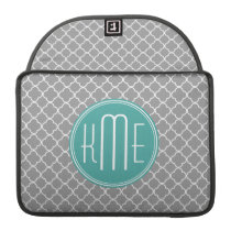 Gray Quatrefoil with Custom Mint Monogram Sleeve For MacBook Pro