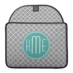 Gray Quatrefoil With Custom Mint Monogram Sleeve For Macbook Pro at Zazzle