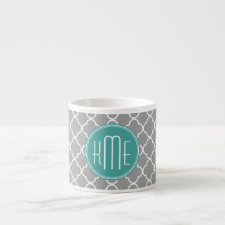 Gray Quatrefoil with Custom Mint Monogram 6 Oz Ceramic Espresso Cup