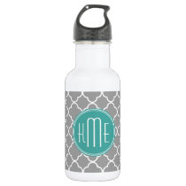 Gray Quatrefoil with Custom Mint Monogram Stainless Steel Water Bottle