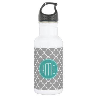 Gray Quatrefoil with Custom Mint Monogram Stainless Steel Water Bottle
