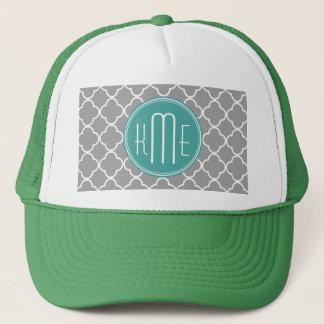 Gray Quatrefoil with Custom Mint Monogram Trucker Hat