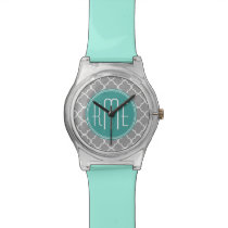 Gray Quatrefoil with Custom Mint Monogram Wristwatch