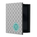Gray Quatrefoil with Monogram Mint Vintage Frame iPad Covers