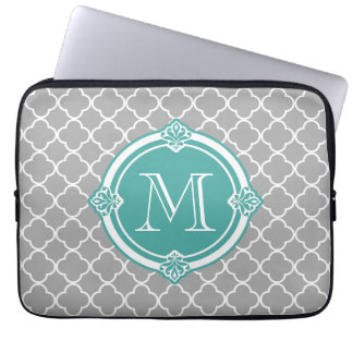 Gray Quatrefoil with Monogram Mint Vintage Frame Laptop Sleeve