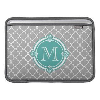 Gray Quatrefoil with Monogram Mint Vintage Frame MacBook Air Sleeve