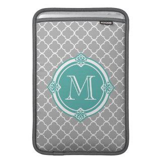 Gray Quatrefoil with Monogram Mint Vintage Frame MacBook Sleeve