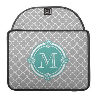 Gray Quatrefoil with Monogram Mint Vintage Frame Sleeve For MacBook Pro