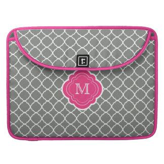 Gray Quatrefoil with Pink Monogram Sleeve For MacBooks