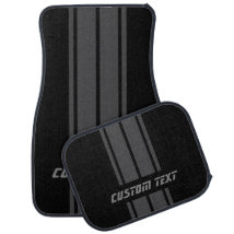 Gray Race Double Stripes | Personalize Car Floor Mat