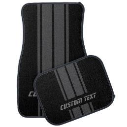 Gray Race Double Stripes | Personalize Car Floor Mat