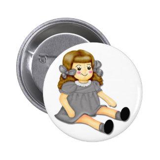Gray Rag Doll 2 Inch Round Button