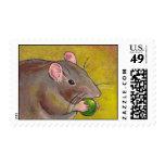 Gray rat art - fun original painting - cute pet stamp