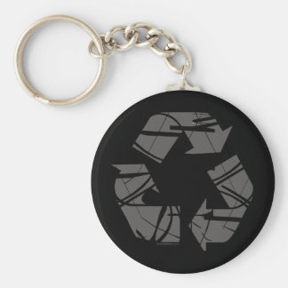 Gray Recycling Sign Keychain