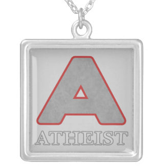 """Gray & Red Atheist """"A"""" Pendant Necklace"""