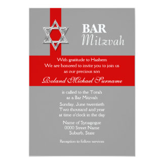 Gray red bar mitzvah celebrations card