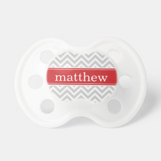 Gray & Red Chevron & Monogram Pacifier