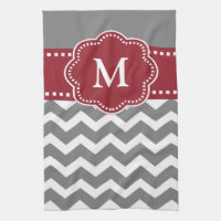 Gray Red Chevron Monogram Towel