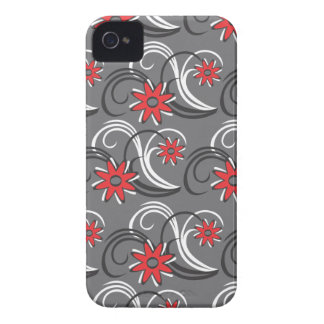 Gray, Red flowers iPhone 4/4s case