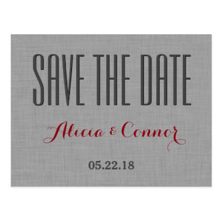 Gray Red Linen Look Modern Save the Date Wedding Postcard