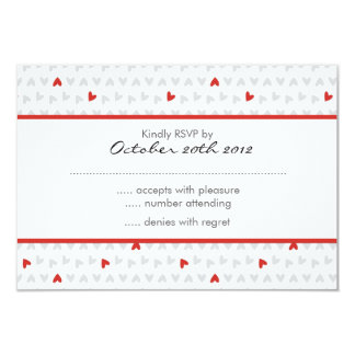 gray & red little hearts pattern RSVP Card