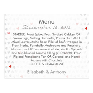 gray & red little hearts wedding menu postcard
