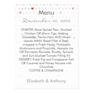 gray & red little hearts wedding menu postcard