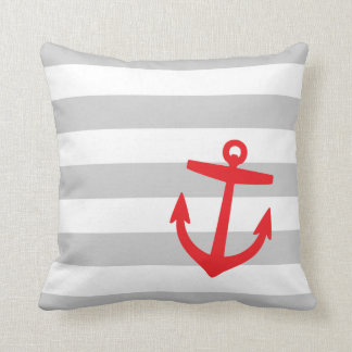 Gray & Red Nautical Stripes and Cute Anchor Throw Pillow