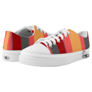 Gray Red Pink Peach Bold Stripes Printed Shoes