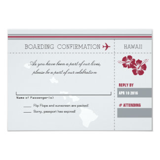 Gray Red RSVP Boarding Pass TO HAWAII Card