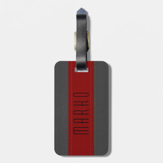 Gray & Red Stripes Faux Vintage Leather Look 2 Luggage Tag