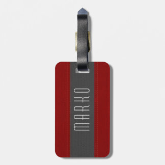 Gray & Red Stripes Faux Vintage Leather Look Luggage Tag