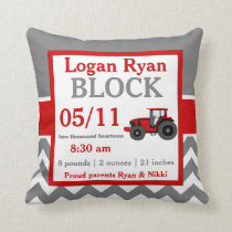Gray Red Tractor Baby Announcement Pillow