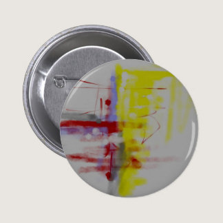 Gray Red Yellow Abstract Expressionist Button