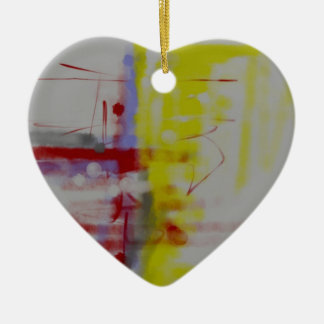Gray Red Yellow Abstract Expressionist Ceramic Ornament