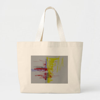 Gray Red Yellow Abstract Expressionist Large Tote Bag