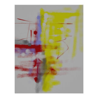 Gray Red Yellow Abstract Expressionist Letterhead