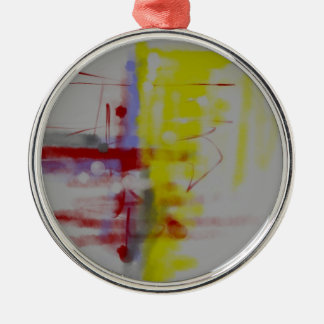 Gray Red Yellow Abstract Expressionist Metal Ornament