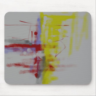 Gray Red Yellow Abstract Expressionist Mouse Pad