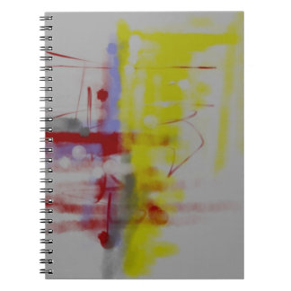 Gray Red Yellow Abstract Expressionist Spiral Notebook