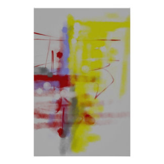 Gray Red Yellow Abstract Expressionist Stationery