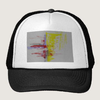 Gray Red Yellow Abstract Expressionist Trucker Hat
